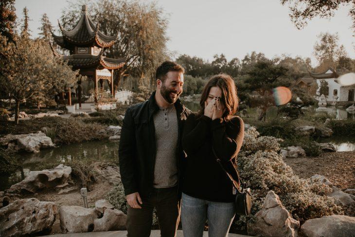 Surprise proposal in Chinese Garden at Huntington Botanical Garden, photo by Fatima Elreda Photo