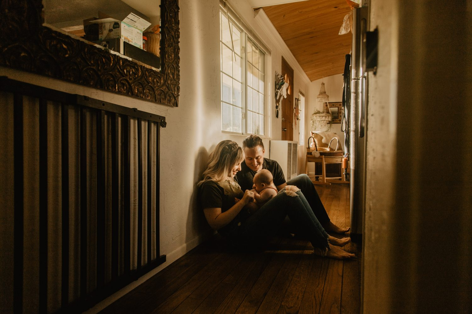 Family session in vintage inspired home, photo by Fatima Elreda Photo