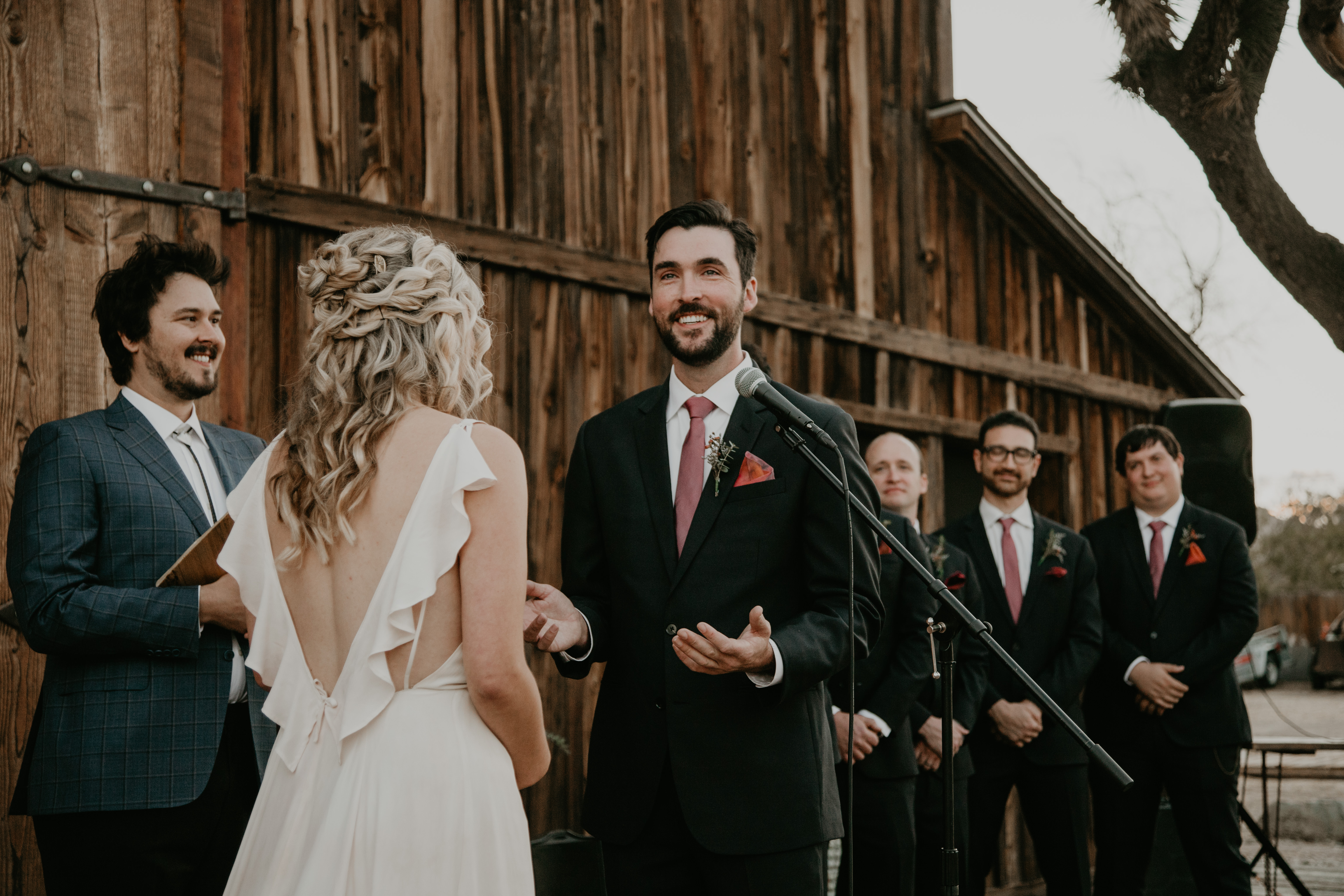 Groom says his vows in wedding, photo by Fatima Elreda Photo