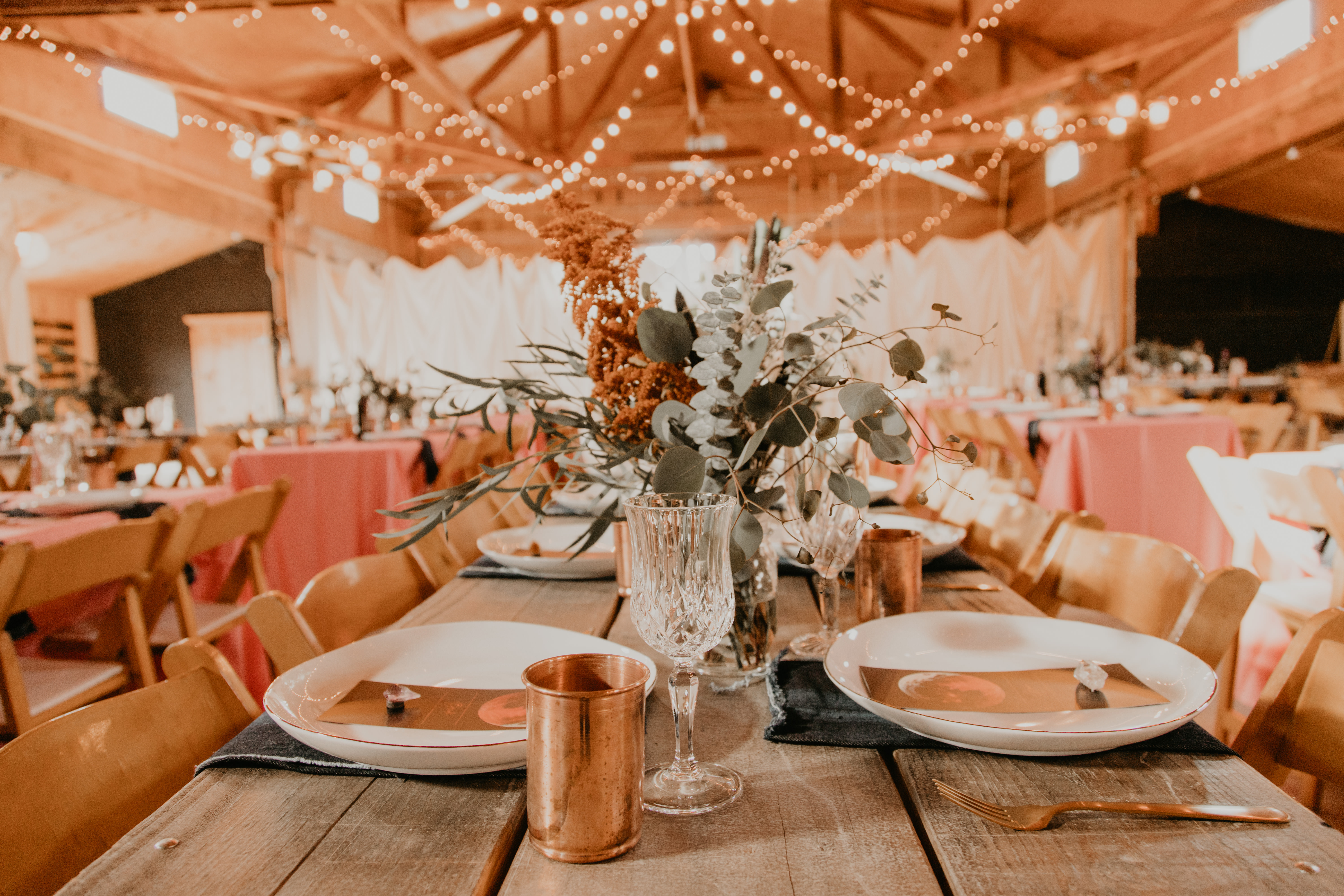 Reception table wedding setup at Pioneertown Soundstage, photo by Fatima Elreda Photo