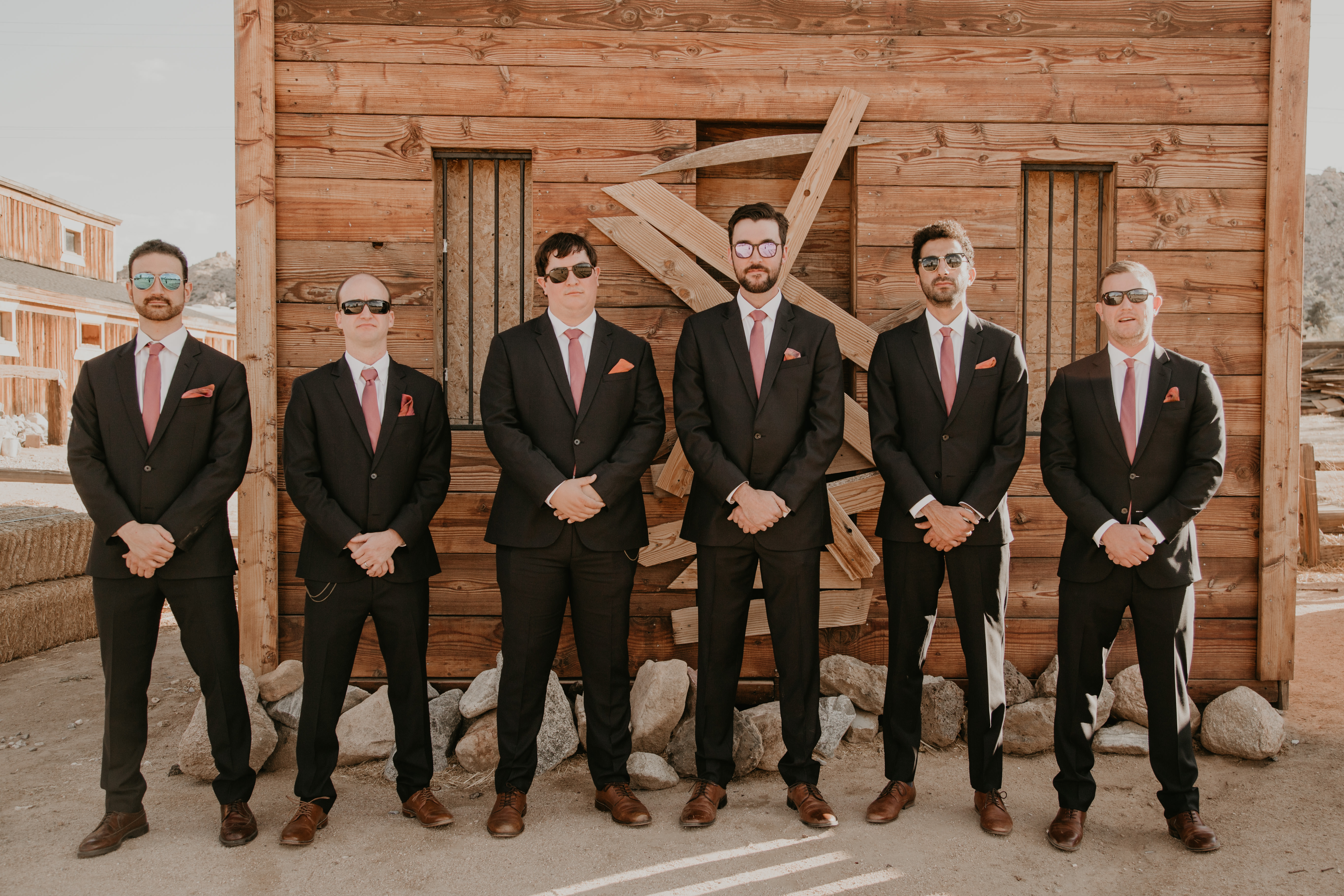 Groomsmen portraits at Pioneertown Soundstage, photo by Fatima Elreda Photo