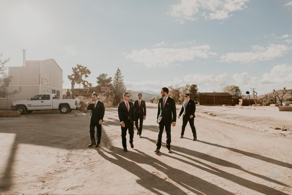 Groomsmen wedding image in the Pioneertown SoundStage Wedding Venue, photo by Fatima Elreda Photo