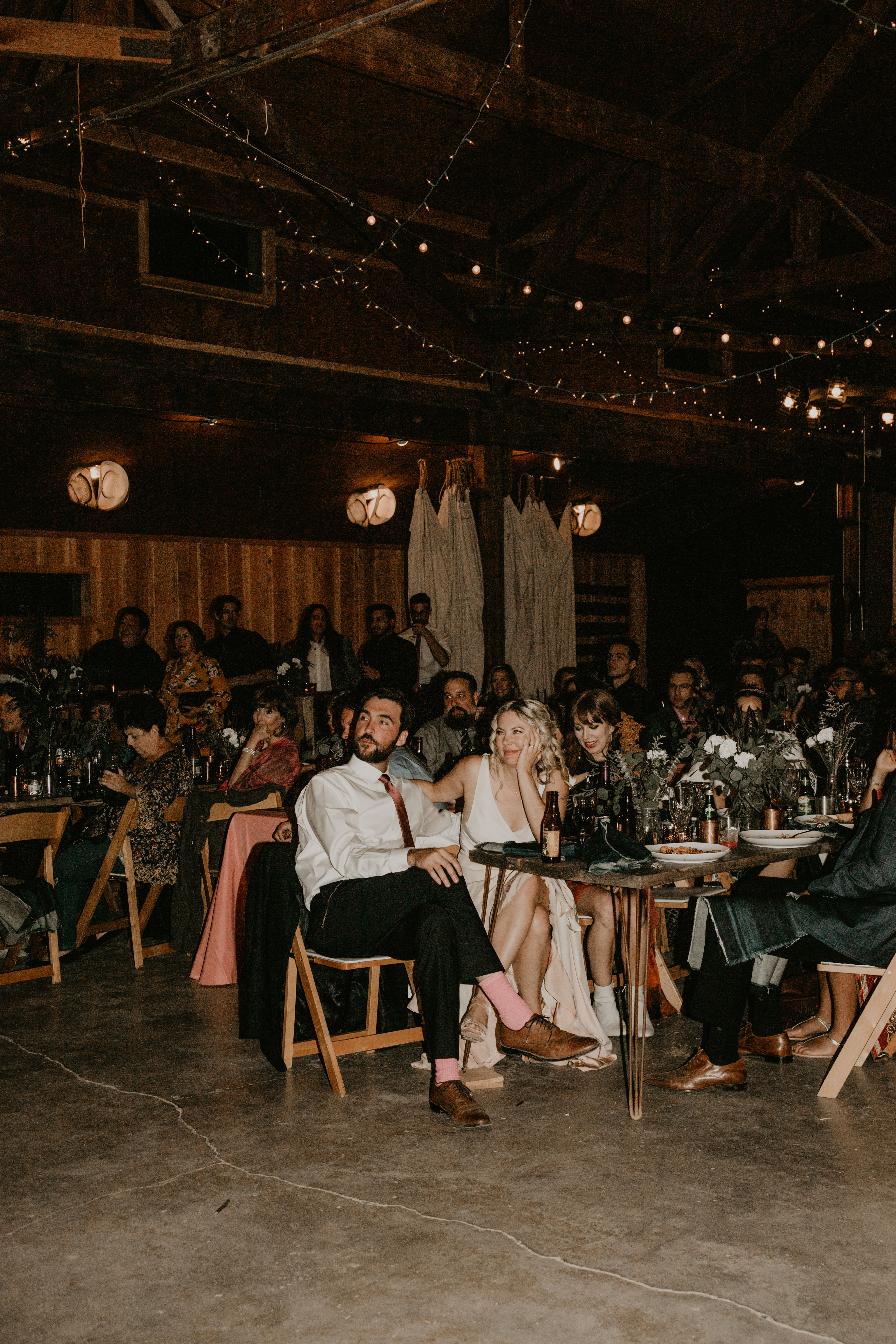 Pioneertown Soundstage Wedding reception and toasts, image by Fatima Elreda Photo