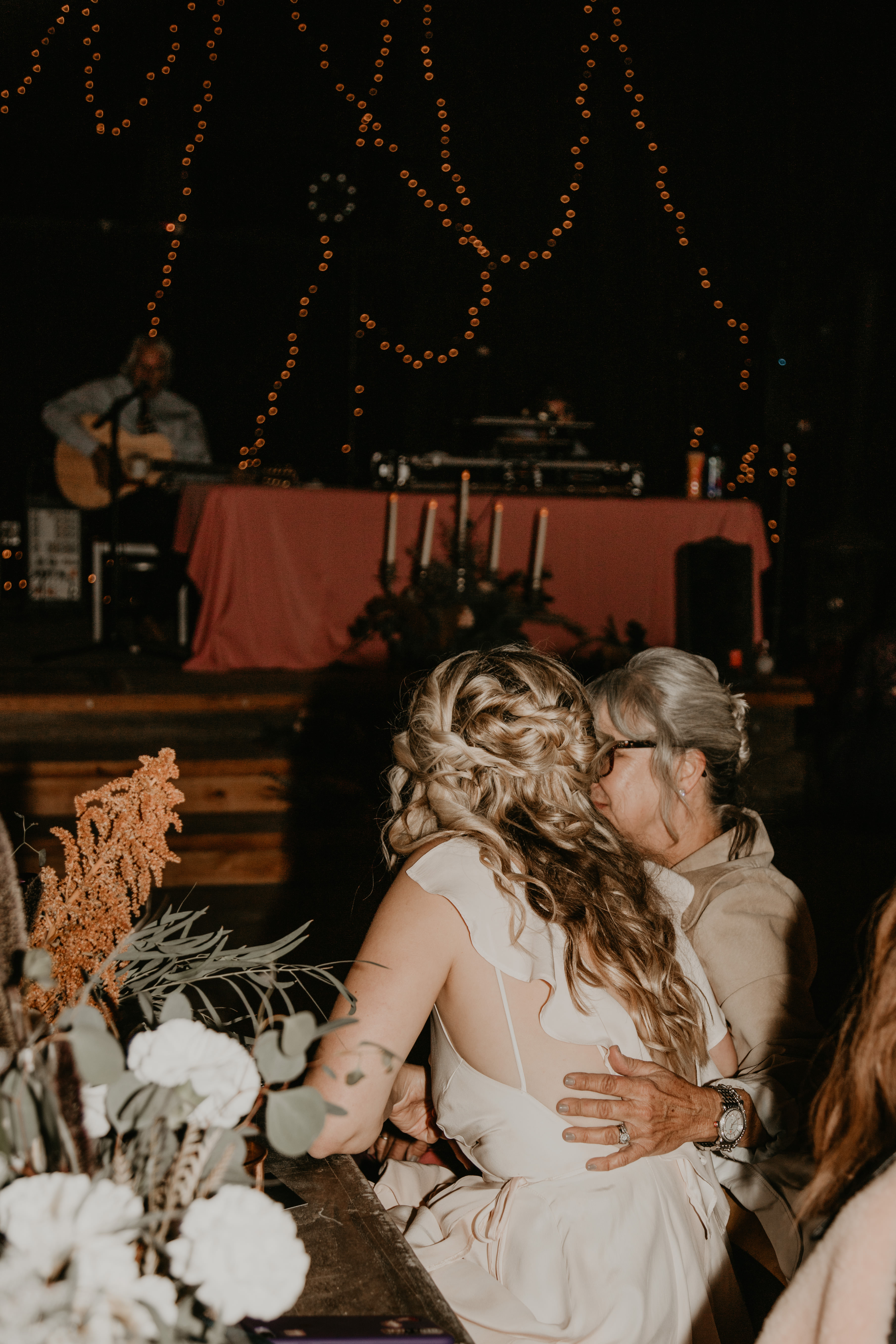 Mother and Bride in reception of Pioneertown Soundstage Wedding, photo by Fatima Elreda Photo