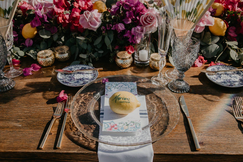 Wedding table set up with lemons, image by Fatima Elreda Photo