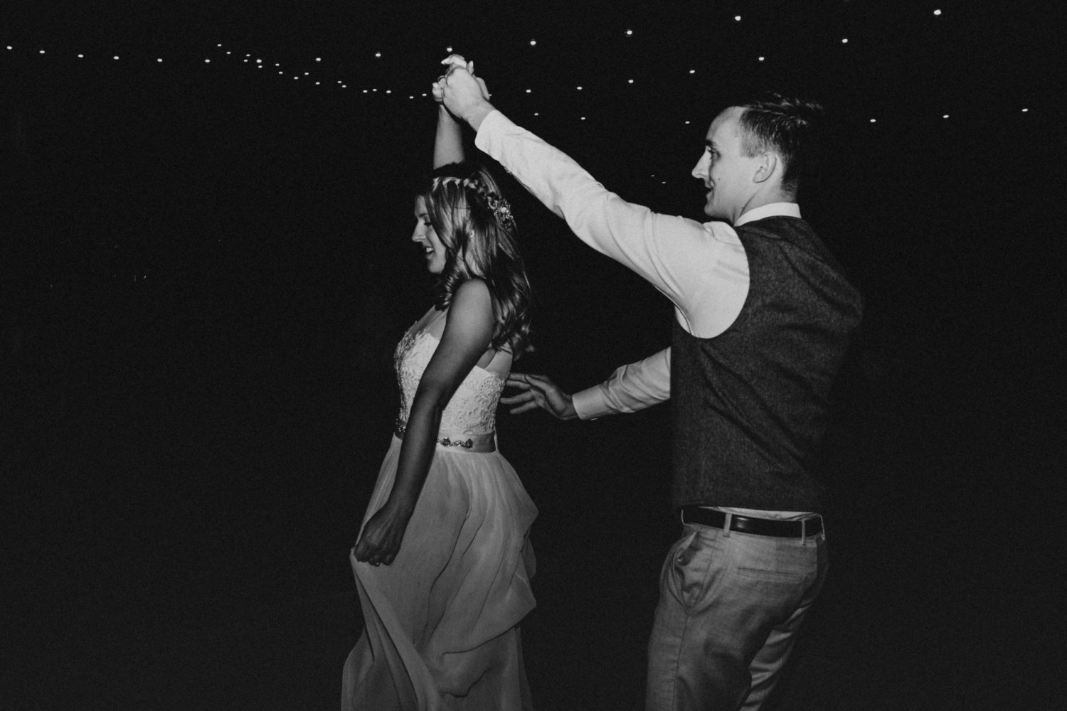 Bride and groom first dance black and white, image by Fatima Elreda Photo