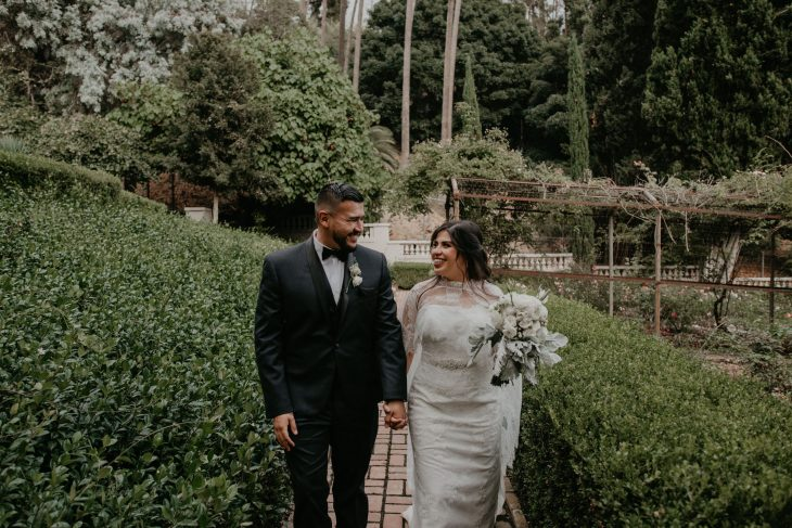 Bride and Groom Portraits at Wattles Mansion and Gardens Wedding, image by Fatima Elreda Photo